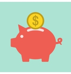 Piggy bank icon flat vector