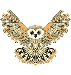 Zentangle stylized brown flying owl hand drawn vector