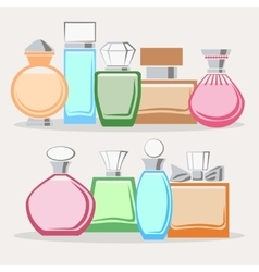 Set of colorful perfume bottles vector