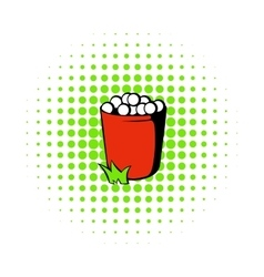 Red basket with golf balls icon comics style vector