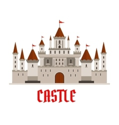 Fortified castle icon with flags and watchtowers vector