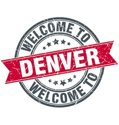 Welcome to denver red round vintage stamp vector