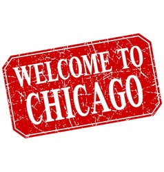 Welcome to chicago red square grunge stamp vector