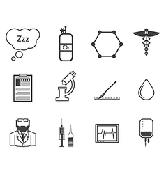 Black icons for anesthesiology vector