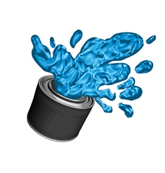 Blue paint can vector