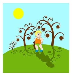boy and toy vector image