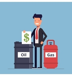 Businessman or manager sells a barrel of oil and vector