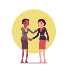 Businesswomen greeting handshaking vector