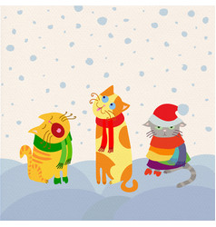 christmas cats card vector image vector image