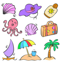 Collection summer object doodle set vector