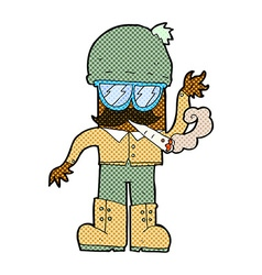 comic cartoon man smoking pot vector image