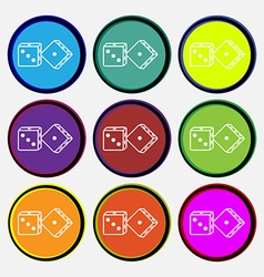 Dices icon sign nine multi colored round buttons vector