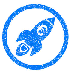 euro rocket startup rounded icon rubber stamp vector image