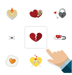 Flat icon love set of key celebration shaped box vector
