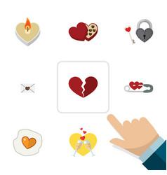 Flat icon love set of key celebration shaped box vector