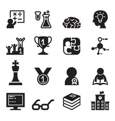 Genius smart icons set vector
