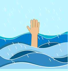hand of drowning man needing help vector image
