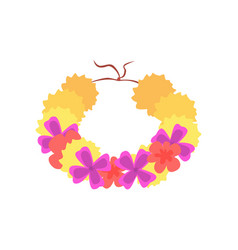 Hawaiian lei with bright colorful flowers vector