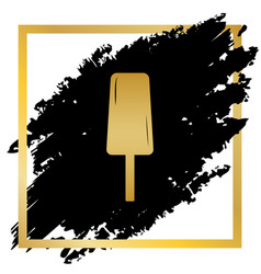 ice cream sign golden icon at black spot vector image vector image