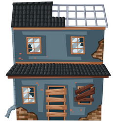 old house with broken roof and windows vector image