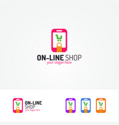 On line shopping logo consisting of cart in phone vector