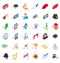 Parade icons set isometric style vector