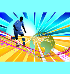 Poster soccer football player colored for vector