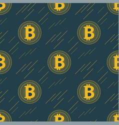 Seamless gold bitcoin pattern cryptocurrency with vector