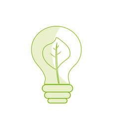 Silhouette energy bulb with leaf inside to vector