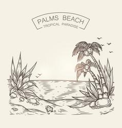 sketch of a seaside beach sea shore vector image