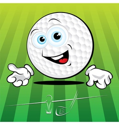 smiling golf ball vector image vector image
