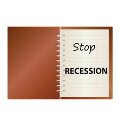 Stop recession on notebook color vector