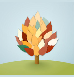 tree with leaves on blue background vector image
