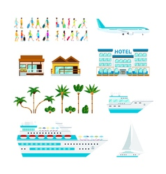 Tropical cruise elements set vector