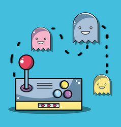 Videogame console with character games design vector