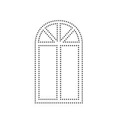 Window simple sign black dotted icon on vector