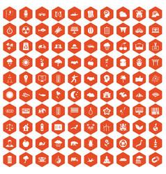100 harmony icons hexagon orange vector