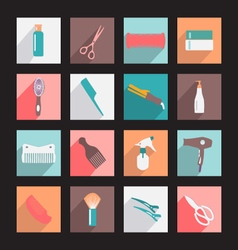 Haircutting tool flat icons beauty salon vector