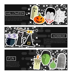 Set of horizontal banners about halloween vector