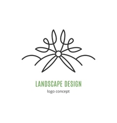 Landscape design logo concept line icon art vector