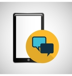 smartphone black bubble speech chat graphic vector image