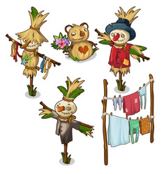 Set of scarecrow straw toys and drying clothes vector