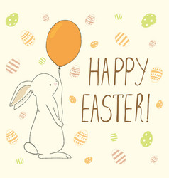 Easter greeting card with easter eggs and bunny vector