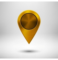 Technology Pointer Button with Gold Metal Texture vector image