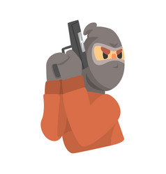 Masked robber with gun colorful cartoon character vector