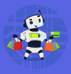 cute robot hold credit card mobile payment online vector image