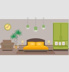 Bedroom interior with furniture including bed vector