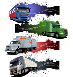 Four grunge banners with colored trucks vector