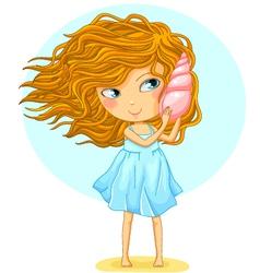 girl with a seashell vector image