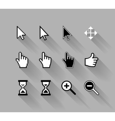 Cursors with long shadows vector